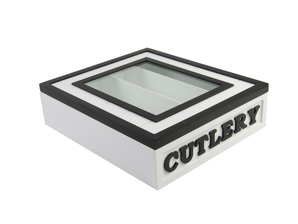Arti Casa Ξύλινο Κουτί Διοργανωτής για Μαχαιροπίρουνα 23x26.5x7cm με Γυάλινο καπ κουζίνα   οργάνωση κουζίνας