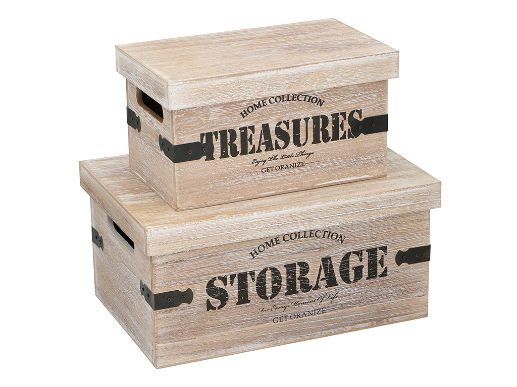 Arti Casa Σετ Ξύλινα Κουτιά αποθήκευσης 2 τεμ. με Μεταλλικές λεπτομέρειες και Κα έπιπλα   μπαούλα και κουτιά αποθήκευσης
