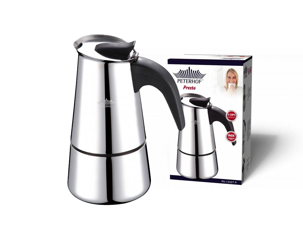 Peterhof Καφετιέρα Espresso 810ml για 9 φλυτζάνια από Ανοξείδωτο ατσάλι, PH-1252 ηλεκτρικές οικιακές συσκευές   καφετιέρες και είδη καφέ
