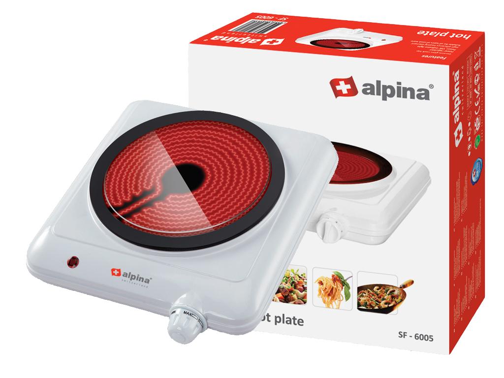 Alpina Switzerland Μονή Κεραμική Ηλεκτρική Εστία 1200W 19.2cm με Ενδειξη Θερμότη ηλεκτρικές οικιακές συσκευές   εστίες μαγειρέματος