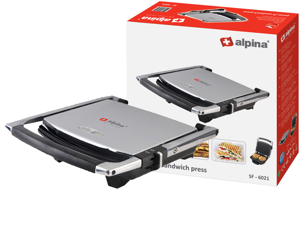 Alpina Switzerland Τοστιέρα Γκριλιέρα Ψηστιέρα 1000W με Αντικολλητικές πλάκες Αλ ηλεκτρικές οικιακές συσκευές   τοστιέρες   σαντουιτσιέρες   φρυγανιέρες