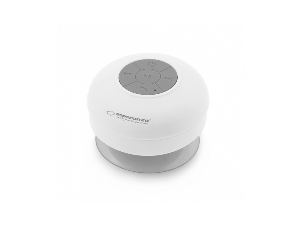 Esperanza Mini Αδιάβροχο Φορητό Ηχείο Bluetooth 3W Βεντούζα σε Λευκό χρώμα, EP12 ήχος   bluetooth και μικρά ηχεία