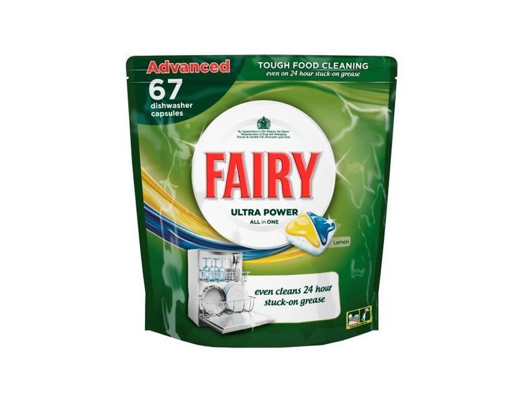 Fairy 67 κάψουλες Πλυντηρίου Πιάτων (ταμπλέτες) Ultra Power ALL in ONE Advanced  καθαριότητα και σιδέρωμα   απορρυπαντικά
