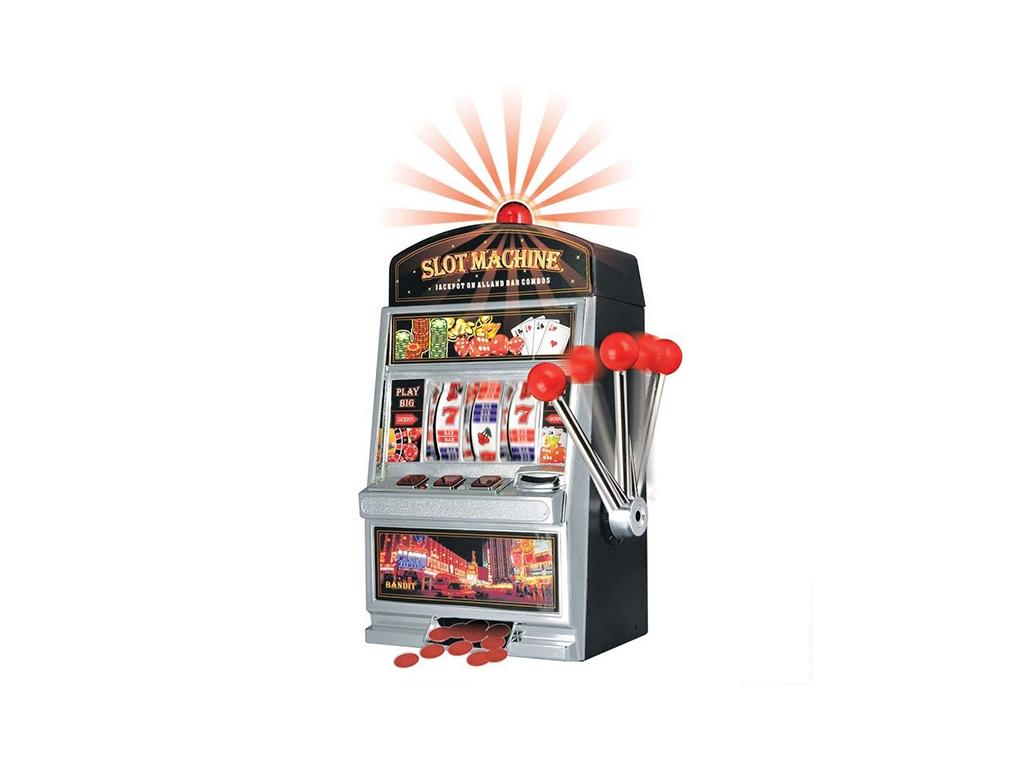 Κουμπαράς Κουλοχέρης Slot Machine 24x38x14.5cm με φωτάκια και ήχους ειδοποίησης όταν φέρετε τον κερδοφόρο συνδυασμό, V0300490 - Cb