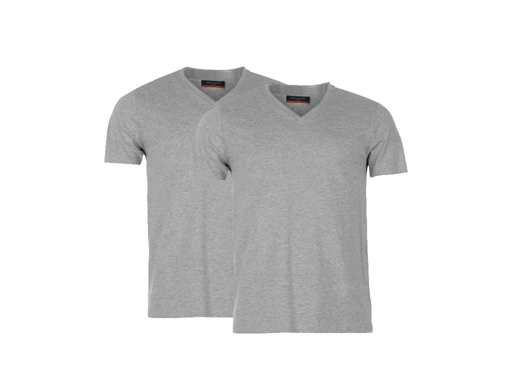 Pierre Cardin Ανδρικό μπλουζάκι T-Shirt Τύπου V σε Γκρι χρώμα Σετ των 2 τεμαχίων ανδρική ένδυση   ανδρικές μπλούζες