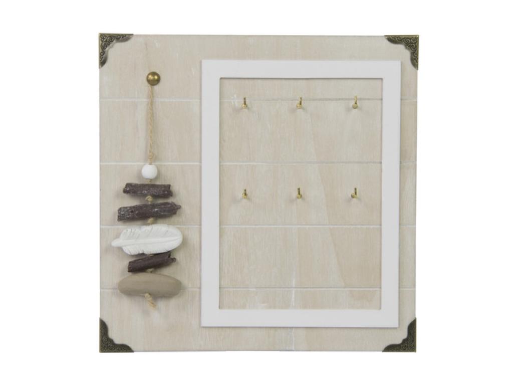 Arti Casa Vintage Ξύλινη Επιτοίχια Κλειδοθήκη 23x23cm 6 Θέσεων με Διακοσμητικά Φ έπιπλα   κλειδοθήκες