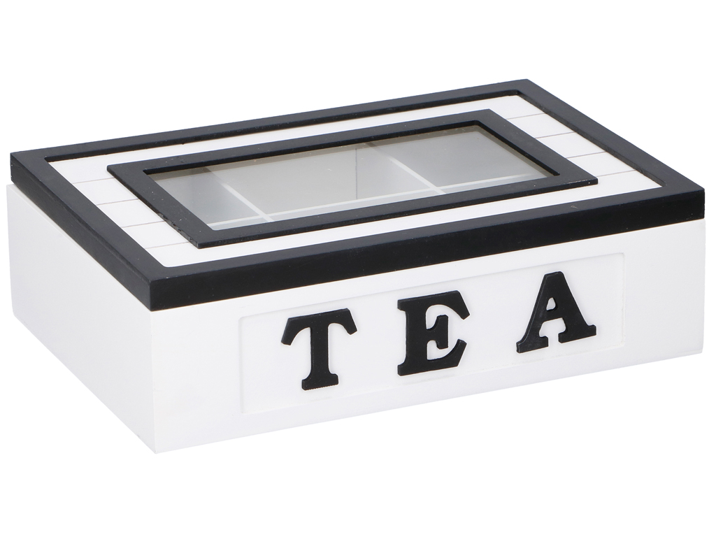 Arti Casa Ξύλινο Πρακτικό Κουτί αποθήκευσης για φακελάκια τσαγιού Tea box με 9 θέσεις σε λευκό χρώμα και διάφανο καπάκι 26,5x18x8cm, 04117 – Arti Casa