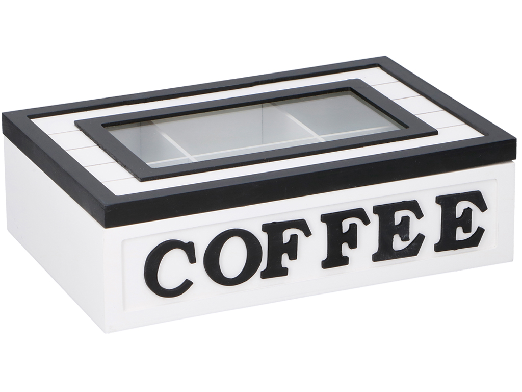 Arti Casa Ξύλινο Πρακτικό Κουτί αποθήκευσης καφέ Coffee box με 9 θέσεις σε λευκό χρώμα και διάφανο καπάκι 26,5x18x8cm, 04119 –
