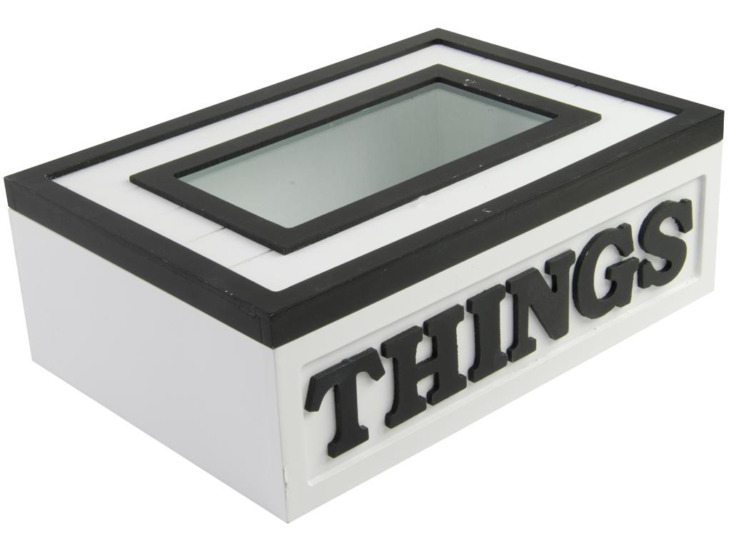 Arti Casa Ξύλινο Κουτί Οργανωτής Μικροπραγμάτων 24x17.5x8cm με Γυάλινο καπάκι σε κουζίνα   κουτιά κουζίνας και ψωμιέρες