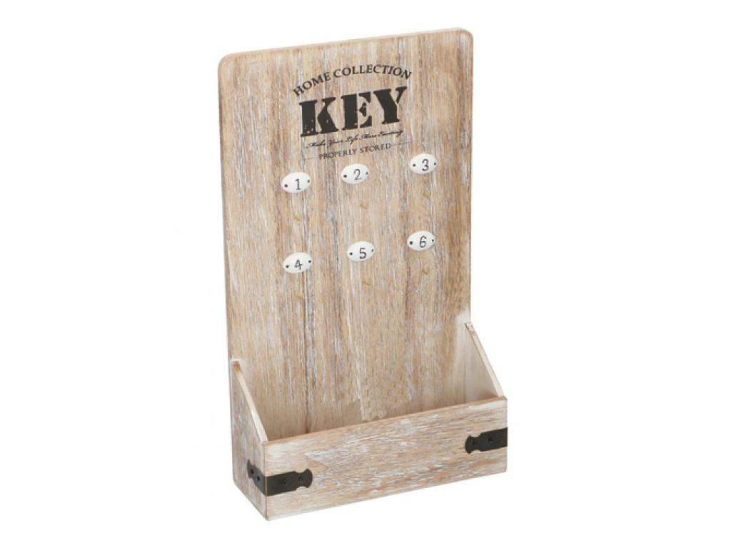 Arti Casa Ξύλινη Vintage Κλειδοθήκη 6 θέσεων 22x37.5x8cm με χώρο για αλληλογραφί έπιπλα   κλειδοθήκες