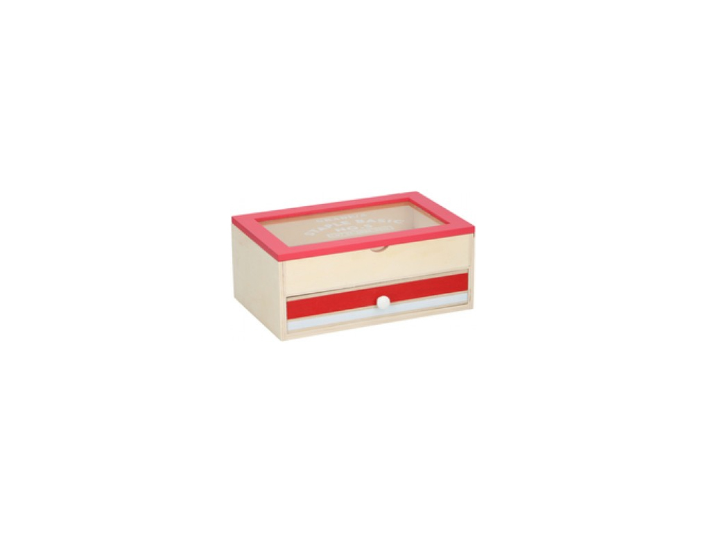 Arti Casa Ξύλινο Trendy Κουτί Αποθήκευσης 23x15x10cm με 1 Συρτάρι και Διάφανο Κα έπιπλα   μπαούλα και κουτιά αποθήκευσης
