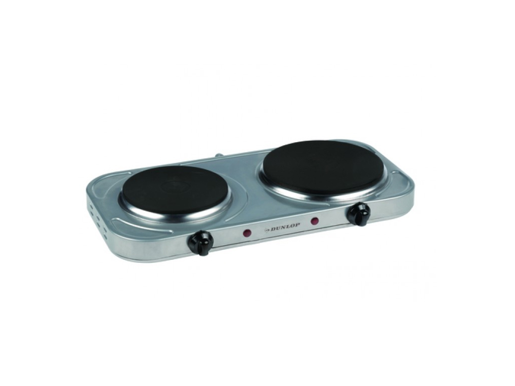 Dunlop Inox Ηλεκτρική Εστία Διπλή 15.5cm-18.5cm 2500W, 06337 - Dunlop ηλεκτρικές οικιακές συσκευές   εστίες μαγειρέματος