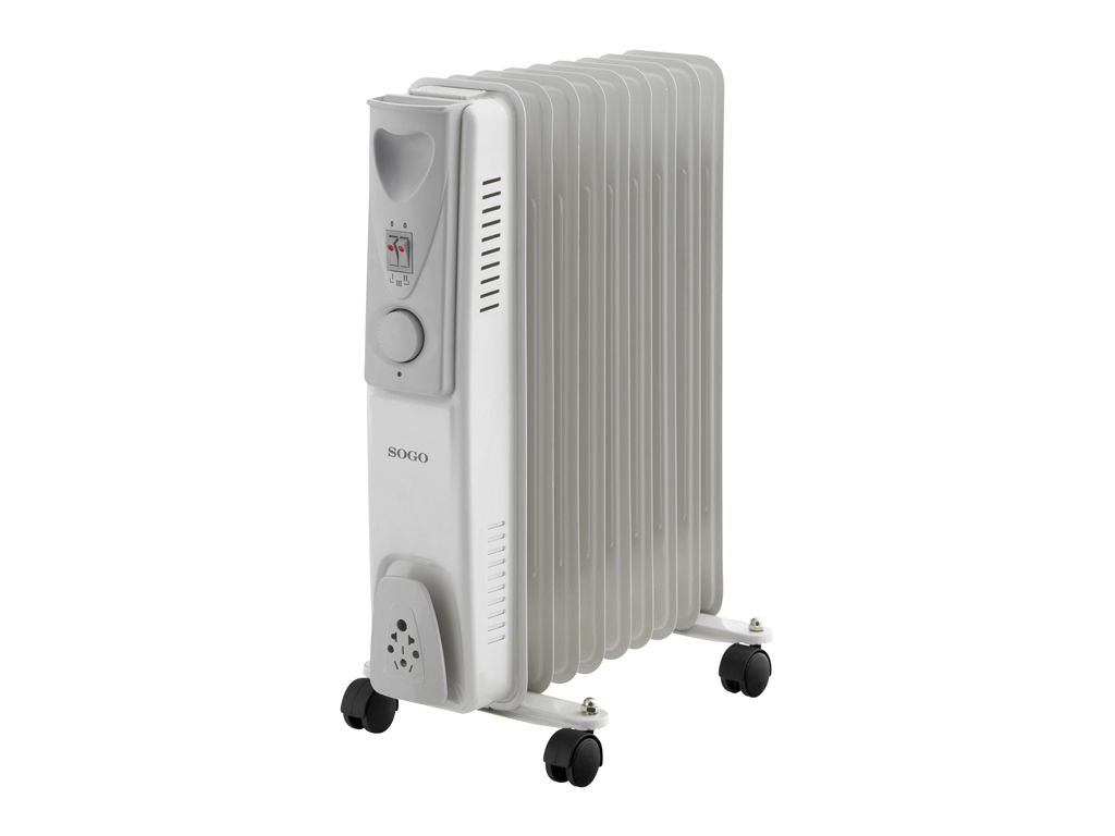 Sogo Ηλεκτρικό Φορητό Καλοριφέρ Λαδιού Θερμαντικό Σώμα με Μέγιστη Ισχύ 2000W, 3 επίπεδα θέρμανσης και Ροδάκια, CAL-SS-18209 - SOGO