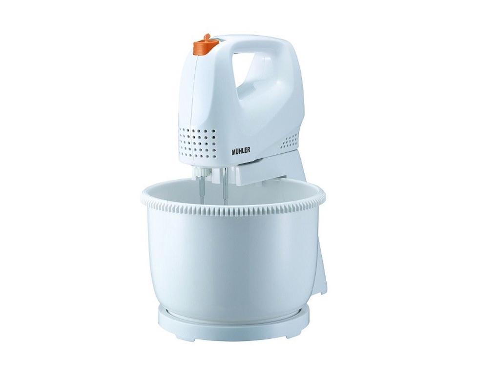 Muhler Ηλεκτρικό Μίξερ Χειρός 200W με Κάδο 2.5Lt με 5 Ταχύτητες και 4 αξεσουάρ σε Λευκό-Πορτοκαλί χρώμα, MX-212B - Muhler