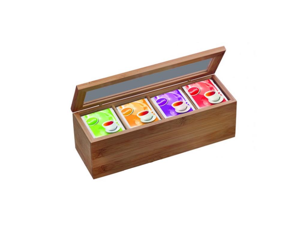 Ξύλινο Πρακτικό Κουτί αποθήκευσης για φακελάκια τσαγιού Tea box με 4 διαμερίσματ κουζίνα   κουτιά κουζίνας και ψωμιέρες