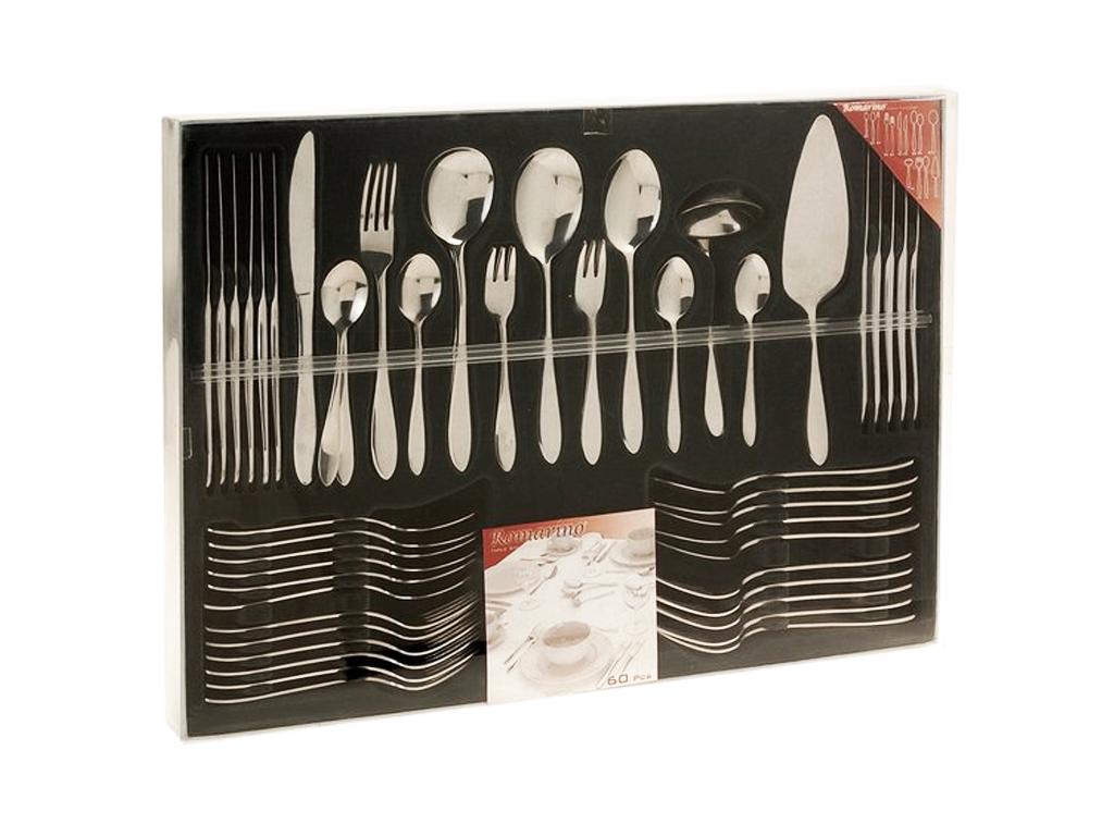 Excellent Houseware Σετ Μαχαιροπίρουνα 60 τεμ. από Ανοξείδωτο Ατσάλι σε Κασετίνα σερβίρισμα   μαχαιροπίρουνα