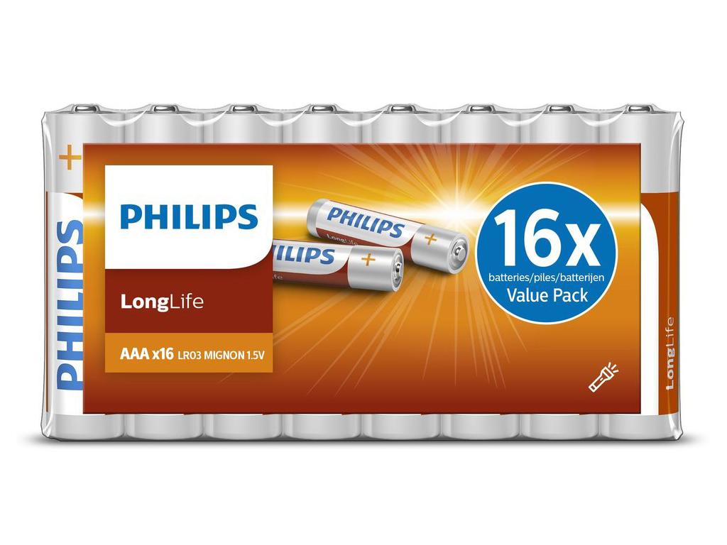 Philips Μπαταρίες R03 AAA Οικονομική συσκευασία Value Pack 12 τεμάχια Longlife,  μπαταρίες   μπαταρίες ψευδάργυρου