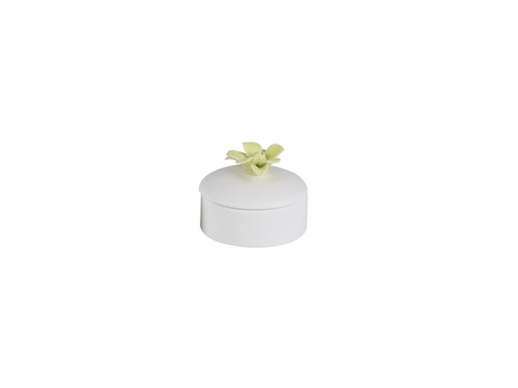 Arti Casa Μπιζουτιέρα από Πορσελάνη 9.5x9.5x5cm με Διακόσμηση Λουλούδι, 88172 Πρ εκδηλώσεις και γιορτές   είδη δώρου
