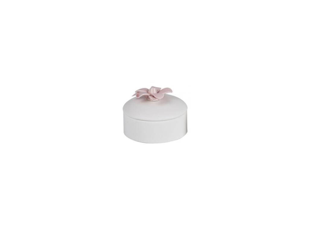 Arti Casa Μπιζουτιέρα από Πορσελάνη 9.5x9.5x5cm με Διακόσμηση Λουλούδι, 88172 Κό εκδηλώσεις και γιορτές   είδη δώρου