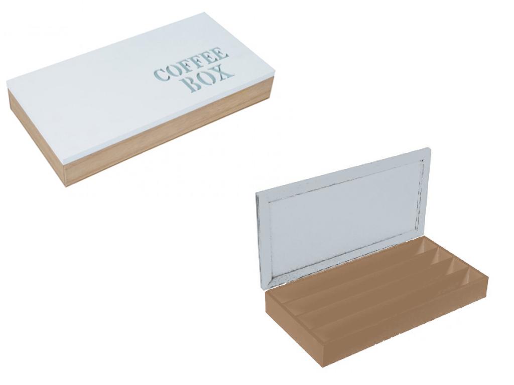 Ξύλινο Κουτί Αποθηκευσης για Κάψουλες Καφέ Espresso 34.5x18x5.5cm με Λευκό καπάκι 4 σειρές υποδοχών και ΒΕΡΑΜΑΝ γράμματα, 99650 - Cb