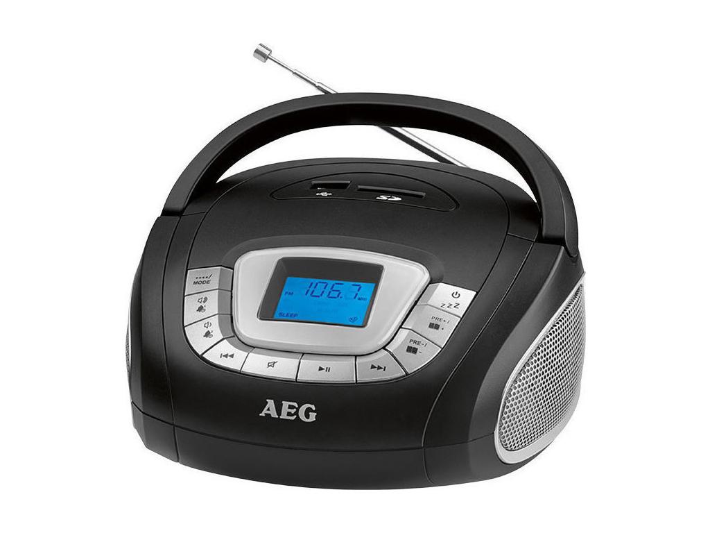 AEG Φορητό Ραδιόφωνο 10W με USB/SD/FM/ AUX-IN σε Μαύρο χρώμα, SR 4373 - AEG ήχος   radio cd