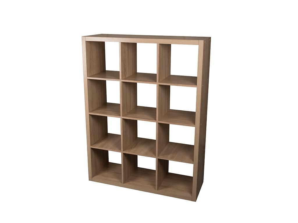 Homestyle Έπιπλο Ξύλινη Βιβλιοθήκη 110x39x146cm με 12 Τετράγωνα Ράφια σε Φυσικό  έπιπλα   βιβλιοθήκες