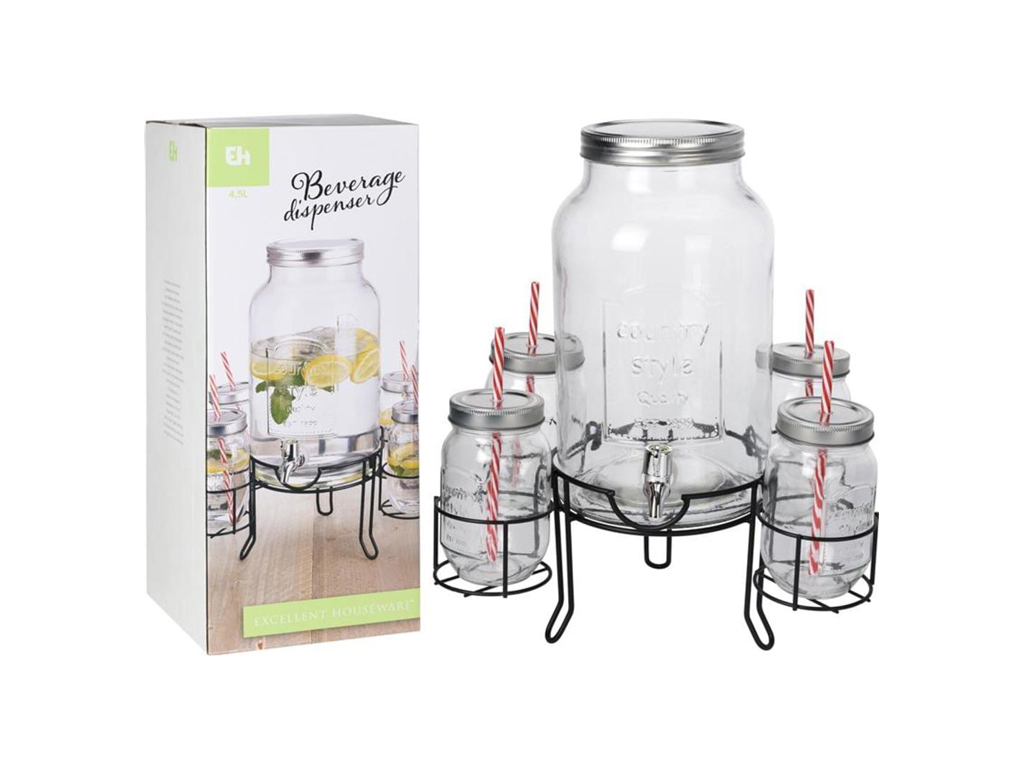 Excellence Houseware Γυάλινος Διανεμητής ποτών 4.5L με 4 ποτήρια και βάση στερέω κουζίνα   θερμός και παγούρια