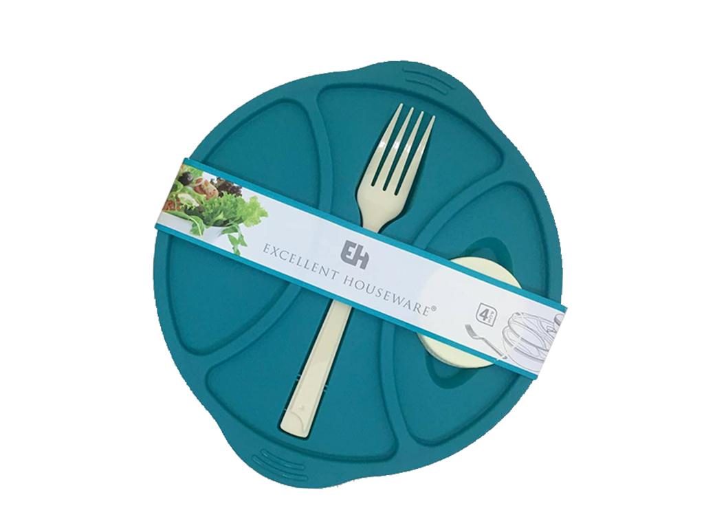 Excellent Houseware Σετ Οβάλ Πλαστικό Φαγητοδοχείο 21x5cm με Πιρούνι, Καπάκι και κουζίνα   τάπερ και μπολ αποθήκευσης τροφών