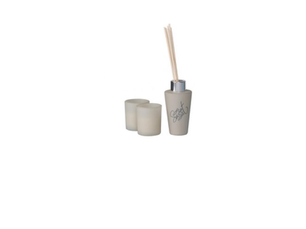 Fumare Σετ 2 Αρωματικά Κεριά 100ml 5x5x6cm και 3 Στικ, 99990 Κρεμ - Fumare διακόσμηση και φωτισμός   αρωματικά χώρου