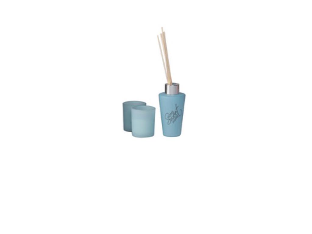 Fumare Σετ 2 Αρωματικά Κεριά 100ml 5x5x6cm και 3 Στικ, 99990 Μπλε - Fumare διακόσμηση και φωτισμός   αρωματικά χώρου