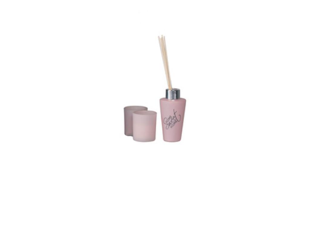 Fumare Σετ 2 Αρωματικά Κεριά 100ml 5x5x6cm και 3 Στικ, 99990 Ροζ - Fumare διακόσμηση και φωτισμός   αρωματικά χώρου