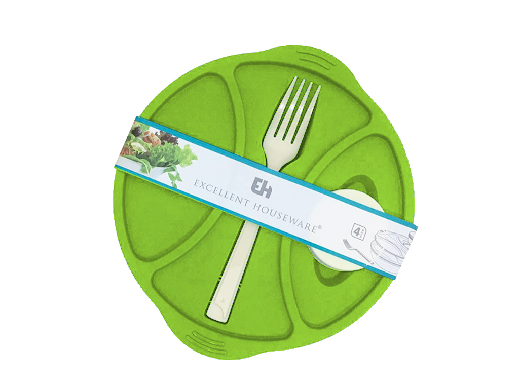 Excellent Houseware Σετ Οβάλ Πλαστικό Φαγητοδοχείο 21x5cm με Πιρούνι, Καπάκι και Δοχείο για Σως, 501601714 Λαχανί - Excellent Houseware
