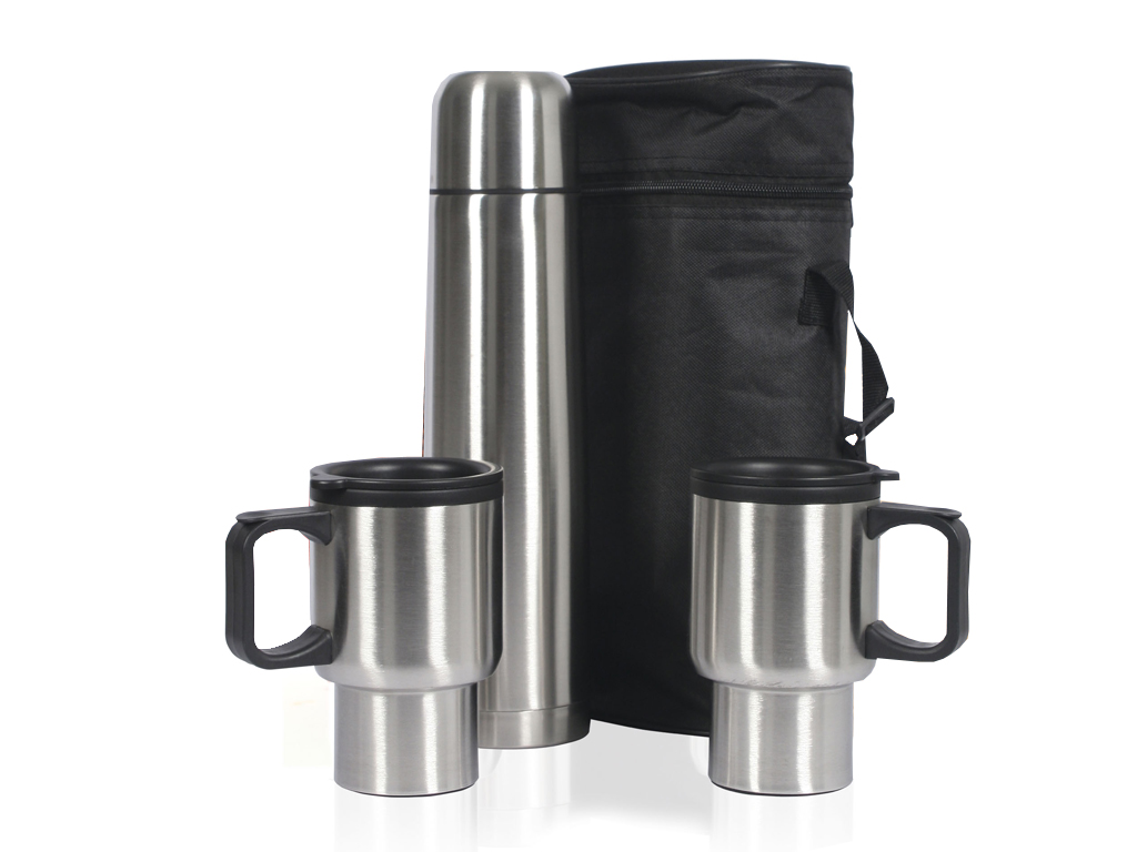 Sogo Σετ Ταξιδιού με Ανοξείδωτο Inox Θερμός 1Lt και 2 Κούπες 400ml σε τσάντα μεταφοράς, TERMO-HR01 - SOGO