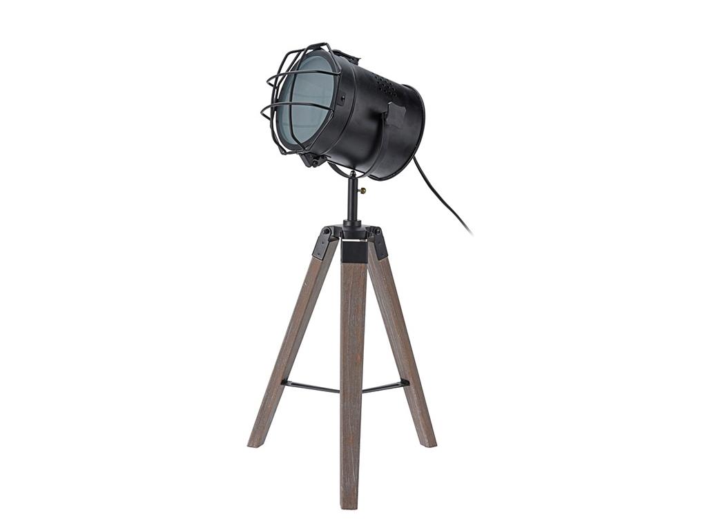 Επιδαπέδια Μεταλλική Λάμπα με Ξύλινο Τρίποδο 24x17.5x64cm Βιομηχανικού Στυλ, HZ1 διακόσμηση και φωτισμός   φωτιστικά