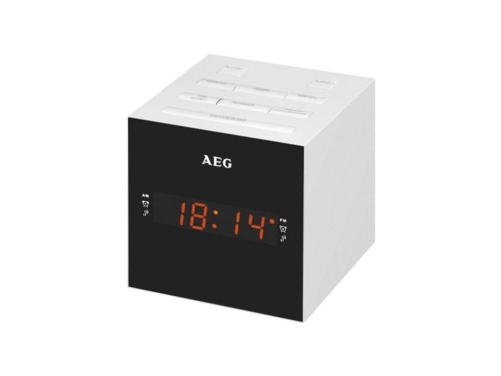 AEG Ραδιο-ξυπνητήρι USB/AUX-IN με Οθόνη LED Καθρέφτη σε Λευκό χρώμα και Σχήμα Κύ ήχος   ραδιόφωνα ξυπνητήρια