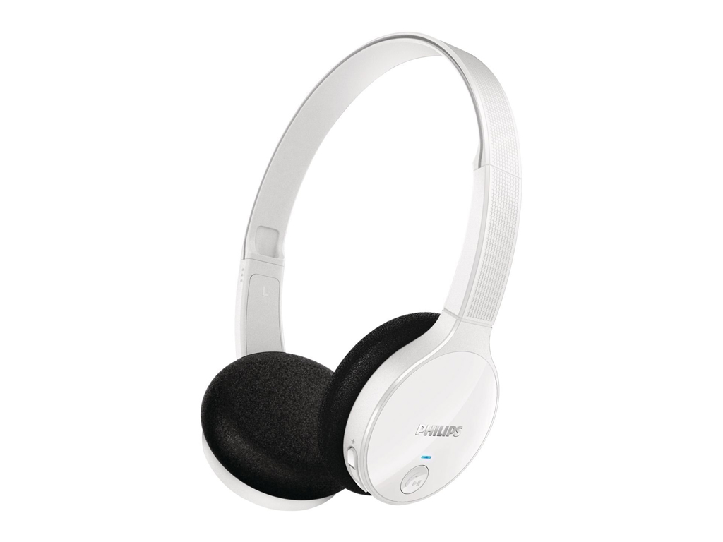 Philips Στερεοφωνικά ακουστικά Bluetooth 100dB με Μικρόφωνο σε Λευκό χρώμα, SHB4 ήχος   bluetooth ακουστικά