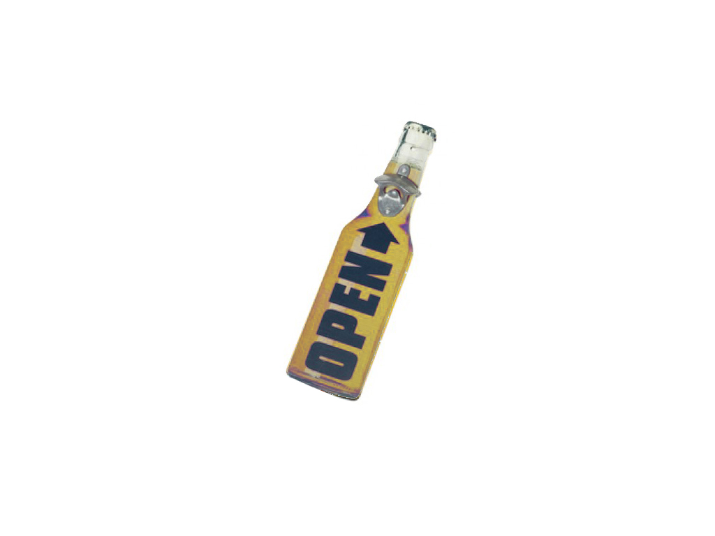 Trendy Ξύλινα Ανοιχτήρια Μπουκαλιών σε σχήμα μπουκαλιού 40x11x4cm, 41294 Κίτρινο – Cb