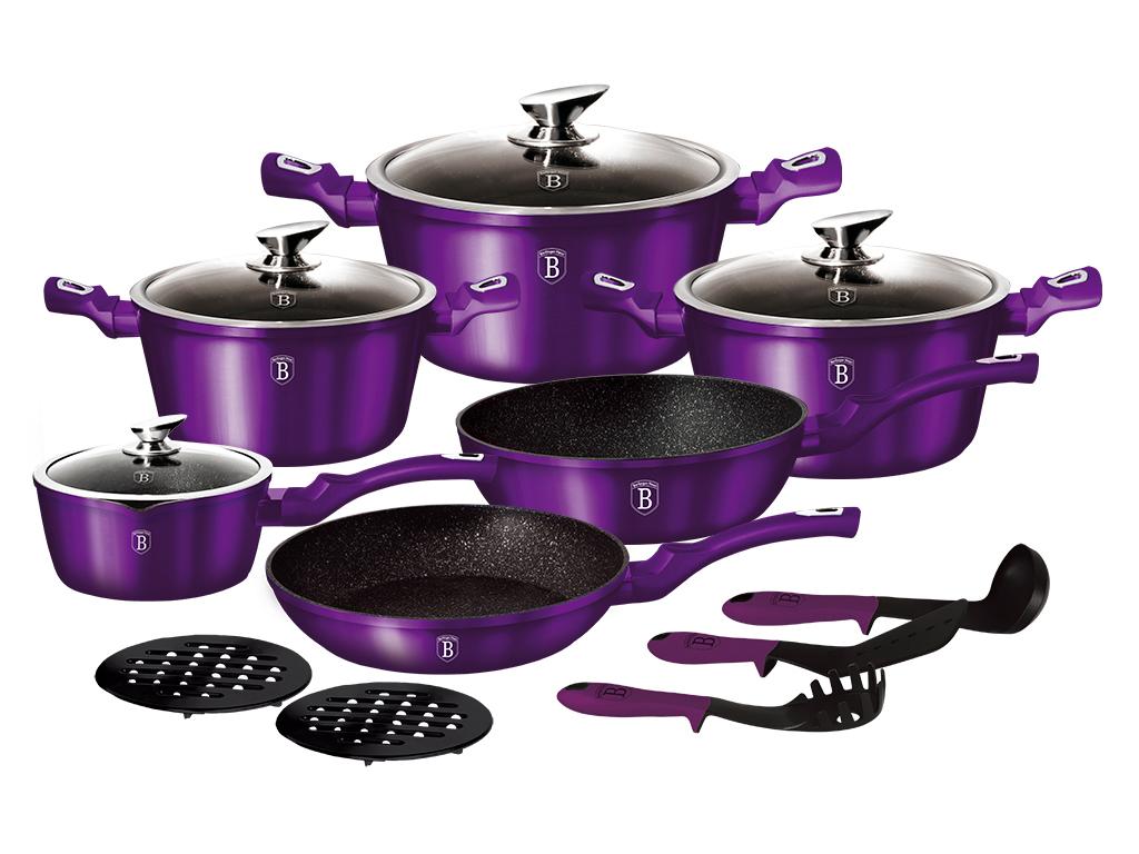 Berlinger Haus Σετ Αντικολλητικά Μαγειρικά Σκεύη 15 τεμ. με Τριπλή Μαρμάρινη Επίστρωση και πάτο Turbo Induction αποτελούμενο από 4 Κατσαρόλες με Γυάλινα καπάκια, 2 Τηγάνια και 5 Αξεσουάρ, Metallic Line Royal Purple Edition, BH-1662N – Berlinger Haus