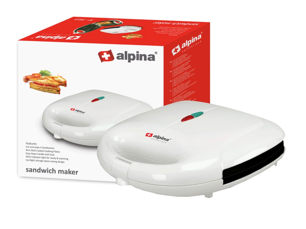 Alpina Switzerland Τοστιέρα Σαντουιτσιέρα 700W με Αντικολλητικές πλάκες σε Λευκό ηλεκτρικές οικιακές συσκευές   τοστιέρες   σαντουιτσιέρες   φρυγανιέρες