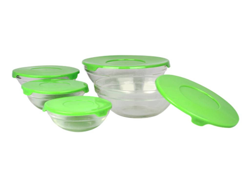 Blaumann Σετ Γυάλινα Μπολ αποθήκευσης 10 τεμ. με Πλαστικά Λαχανί καπάκια, BL-336 κουζίνα   τάπερ και μπολ αποθήκευσης τροφών