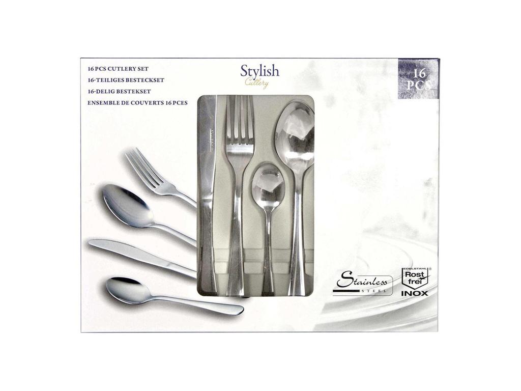 Stylish Cutlery Σετ Μαχαιροπίρουνα 16 τμχ. από Ανοξείδωτο Ατσάλι σε Κασετίνα Δώρ σερβίρισμα   μαχαιροπίρουνα