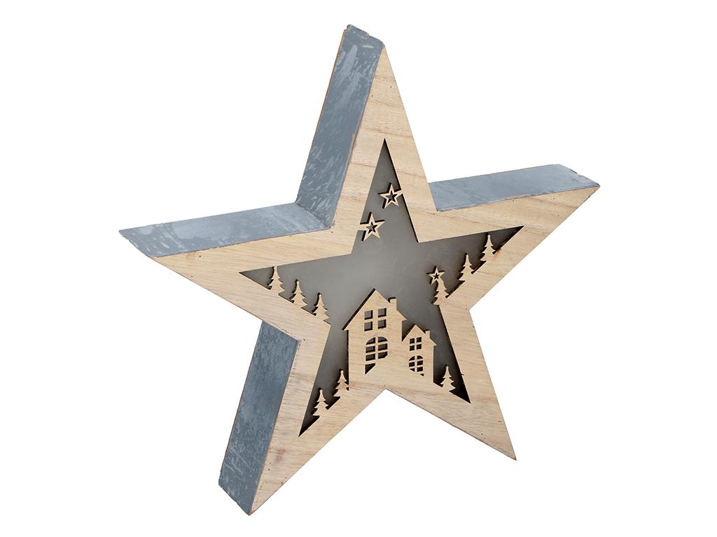 Christmas Gifts Χριστουγεννιάτικο Διακοσμητικό Ξύλινο Αστέρι 30x30x5cm με φωτισμ εποχιακά   χριστουγεννιάτικα είδη