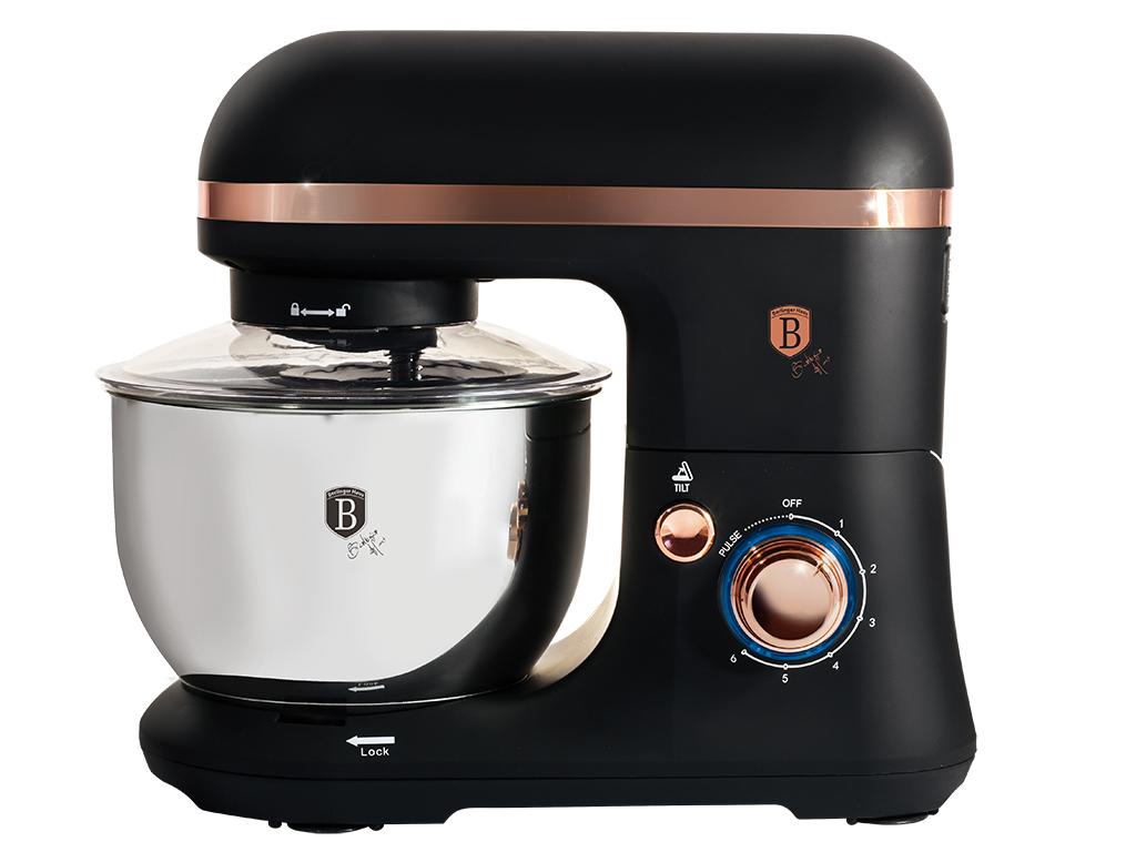 Berlinger Haus Κουζινομηχανή Μίξερ mixer 650W με Ανοξείδωτο Κάδο 4Lt, 8 ταχύτητες, SOFT TOUCH Πλαστικό σώμα και επιπλέον 3 Αξεσουάρ σε μαύρο-ροζ χρυσό χρώμα, Black Rose Collection, BH-9019 - Berlinger Haus