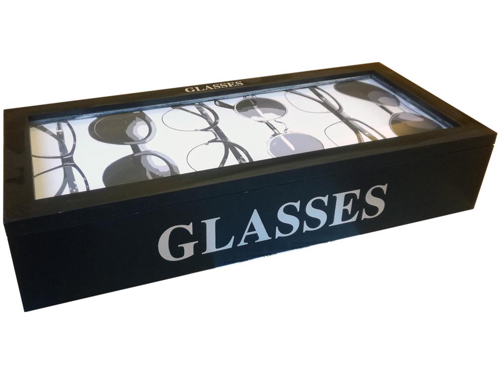 Ξύλινη Θήκη Γυαλιών Ηλίου και Οράσεως 18x41x9cm με 6 θέσεις σε Μαύρο χρώμα, C378 έπιπλα   μπαούλα και κουτιά αποθήκευσης