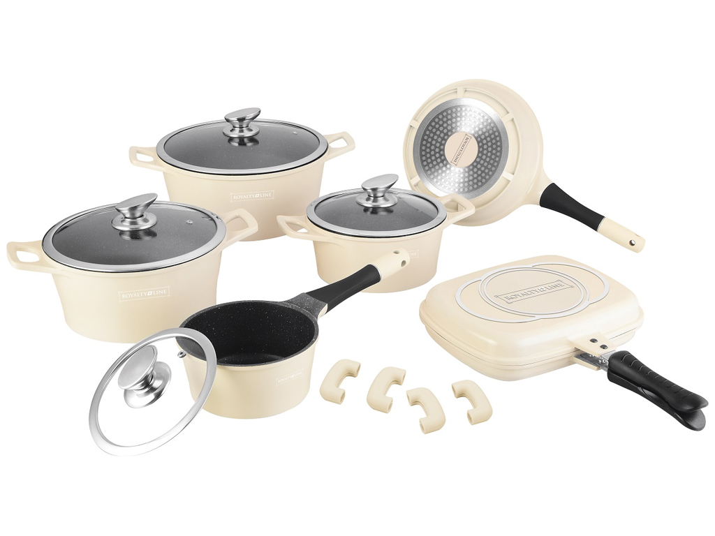 Royalty Line RL-ES1015M Σετ με Κατσαρόλες, Τηγάνι & Διπλό Τηγάνι Grill της Royal μαγειρικά σκεύη   σετ μαγειρικών σκευών