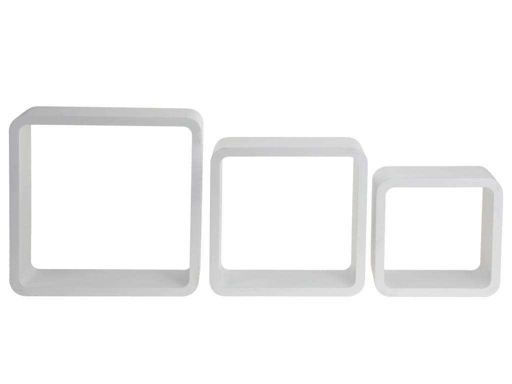 Σετ Ξύλινα Μοντέρνα Τετράγωνα Ράφια Εισόδου 3 τεμ., C37889030 Λευκό - Cb