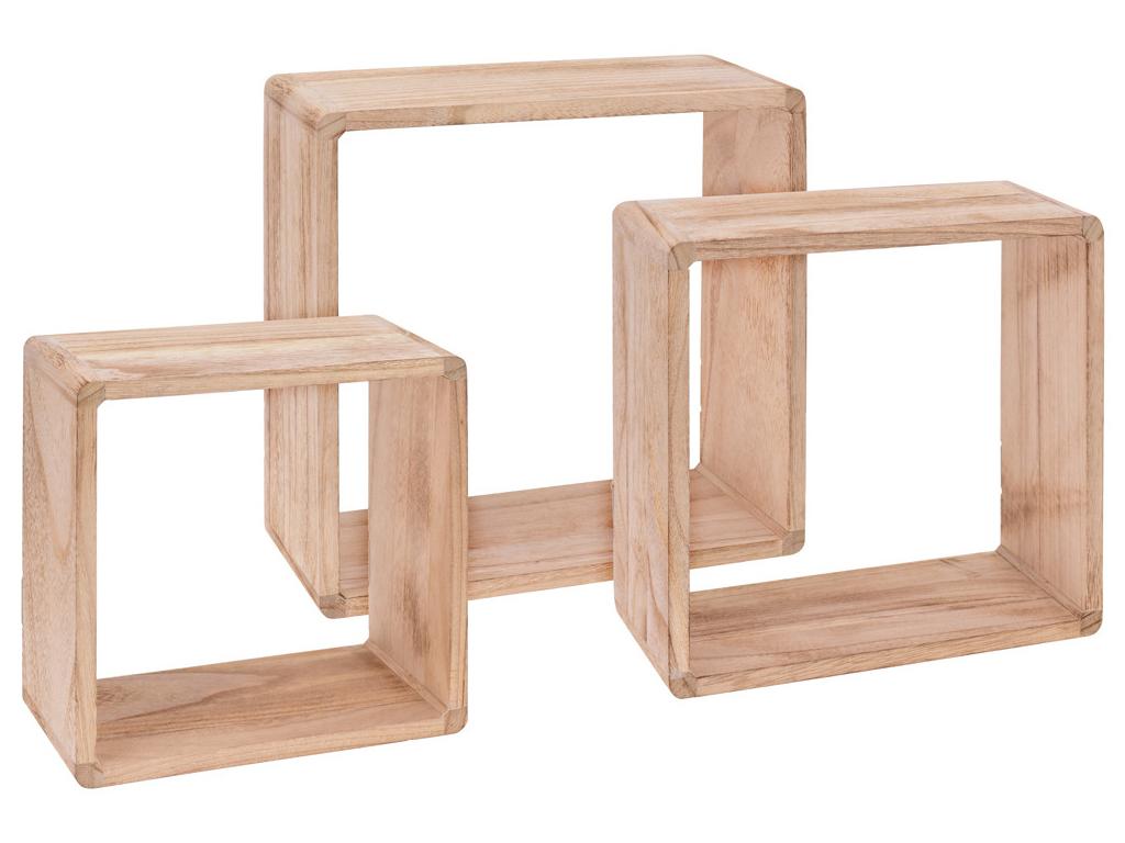 Σετ Ξύλινα Μοντέρνα Τετράγωνα Ράφια Εισόδου 3 τεμ. σε Φυσικό χρώμα, C37889040 -