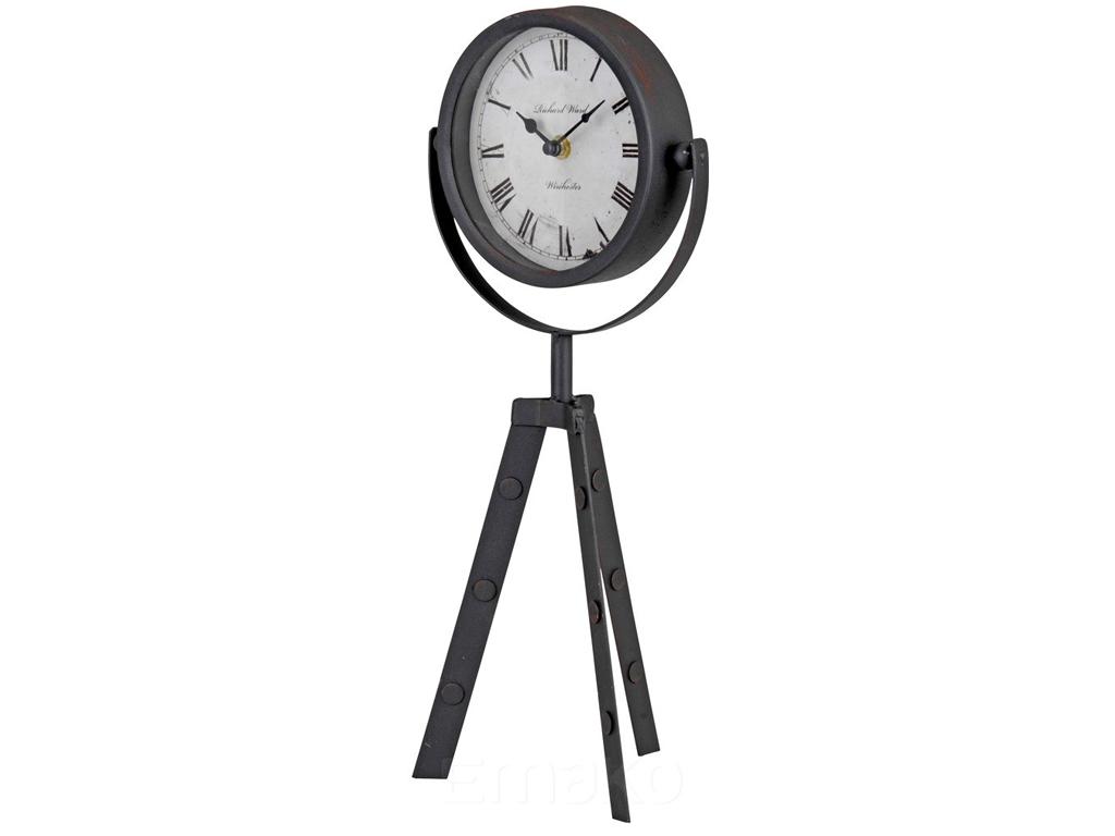 Μεταλλικό Αναλογικό Ρολόι Διαμέτρου 15cm Βιομηχανικού στυλ με Τρίποδα Στήριξης ύ διακόσμηση και φωτισμός   ρολόγια τοίχου  επιτραπέζια και επιδαπέδια ρολόγια