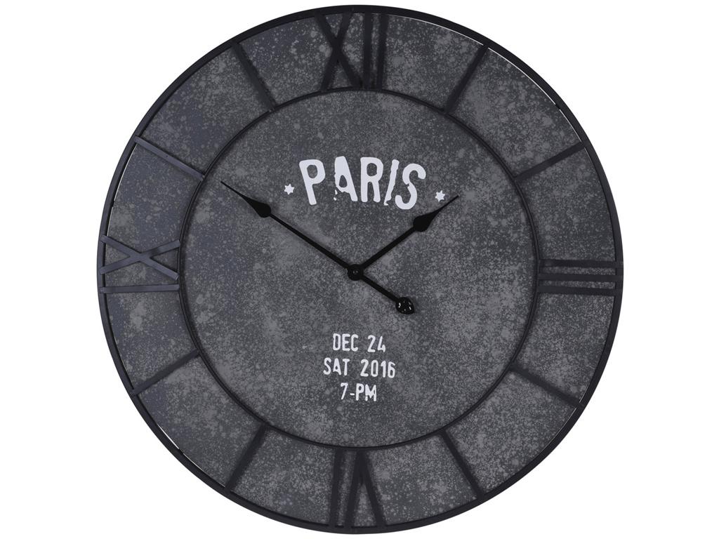 Αναλογικό Vintage Ξύλινο Ρολόι Τοίχου ΓΙΓΑΣ 75cm με μαύρους δείκτες και ενδείξεις και θέμα Paris Cement Look , HZ1902350 - Cb