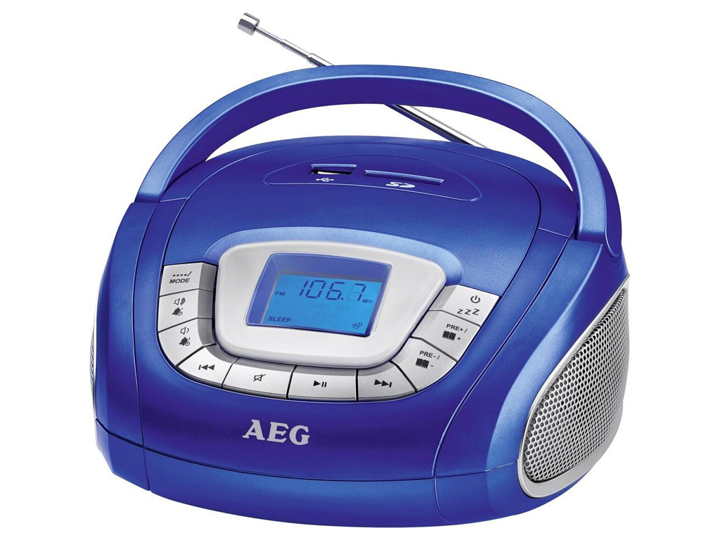 AEG Φορητό Ραδιόφωνο 10W με USB/SD/FM/ AUX-IN σε Μπλε χρώμα, SR 4373 - AEG ήχος   radio cd